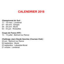 Calendrier 2018 de la Ligue Midi-Pyrénées Occitanie